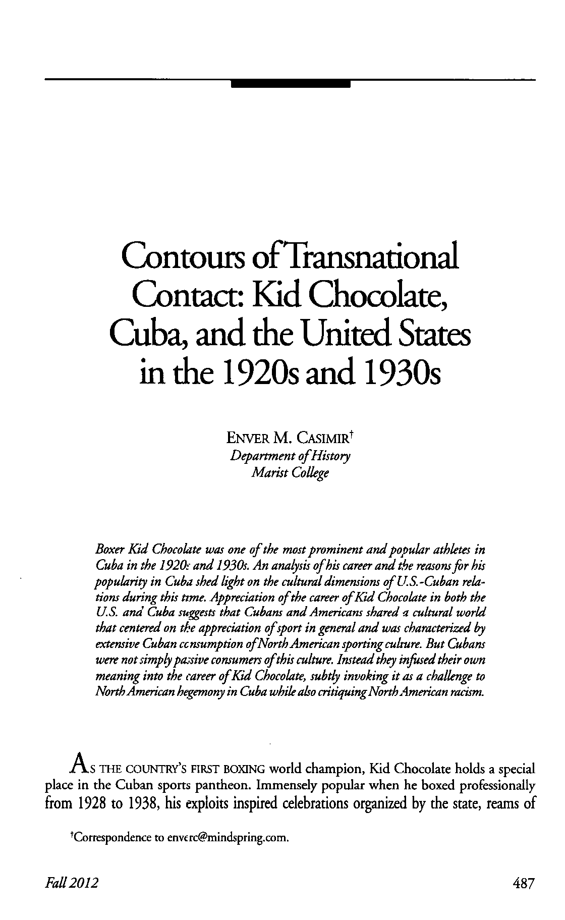 Contours of Transnational Contact: Kid Chocolate, Cuba, and