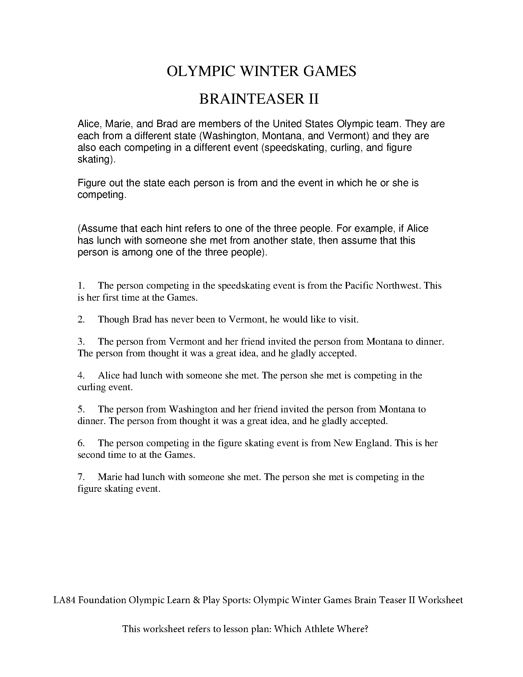 Olympic Learn & Play Sports: Olympic Winter Games Brain Teaser II