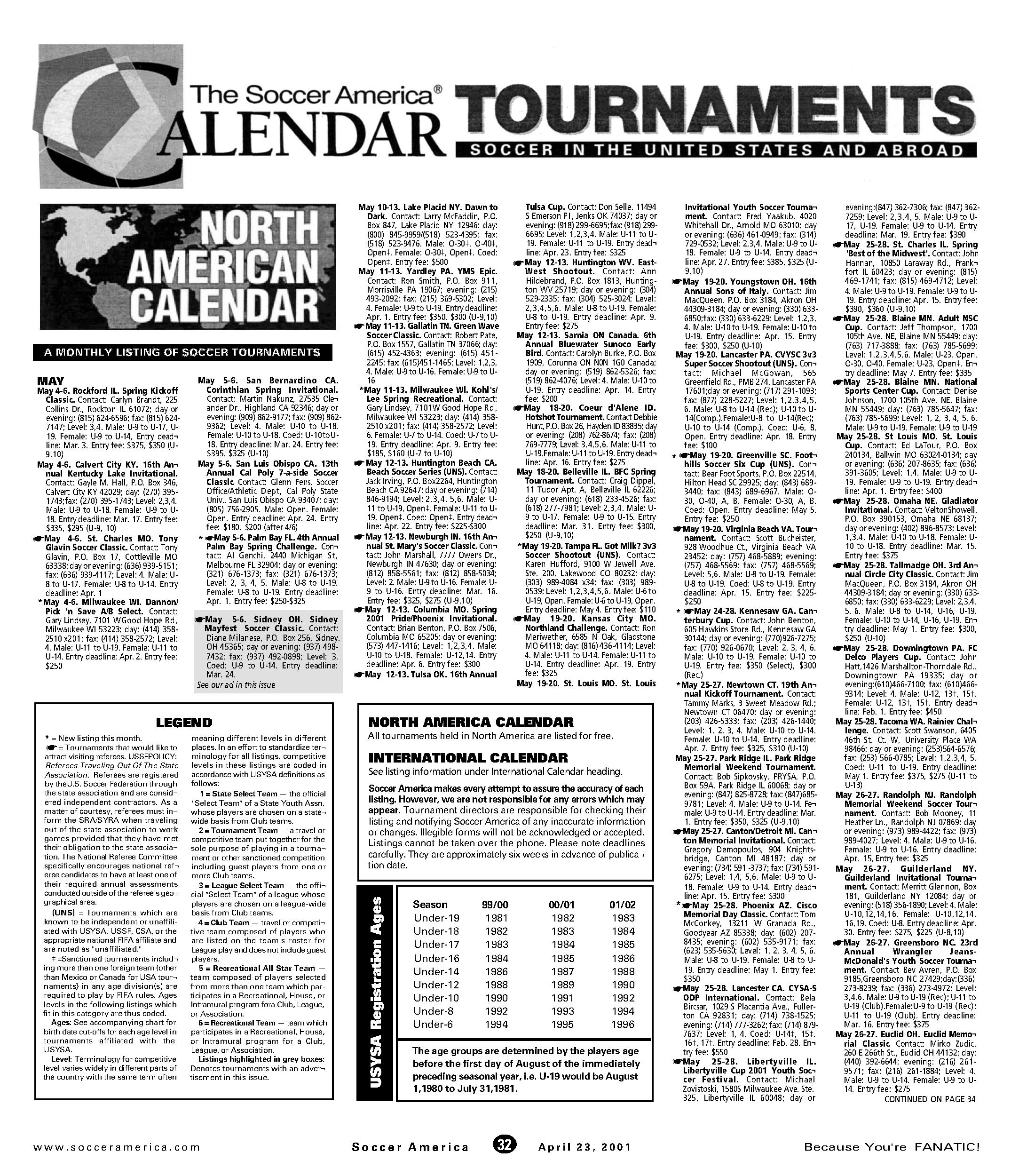 Soccer America Tournament Calendar - Sports Magazine Collection